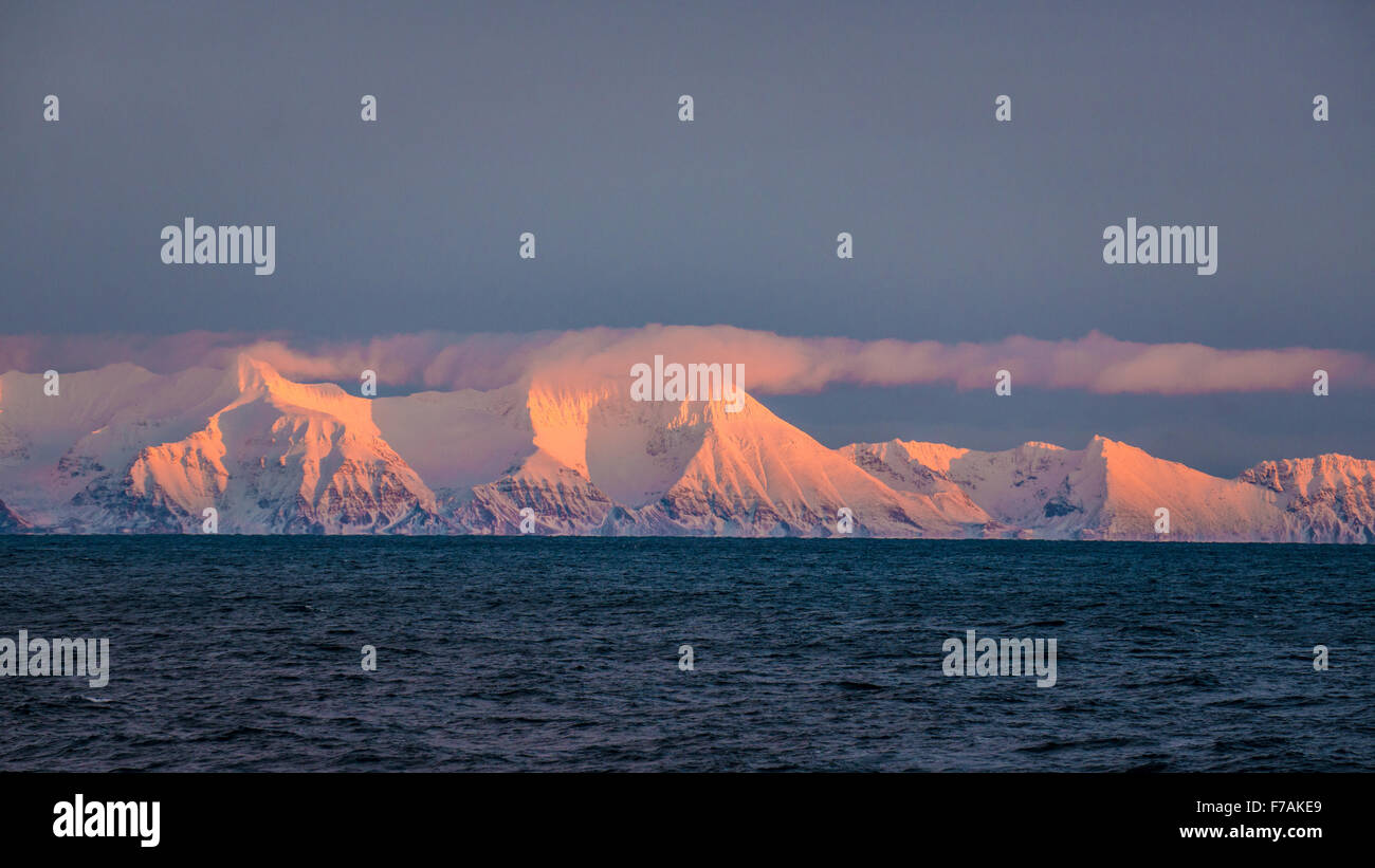 Prins Karls Foreland from the sea - Stock Image