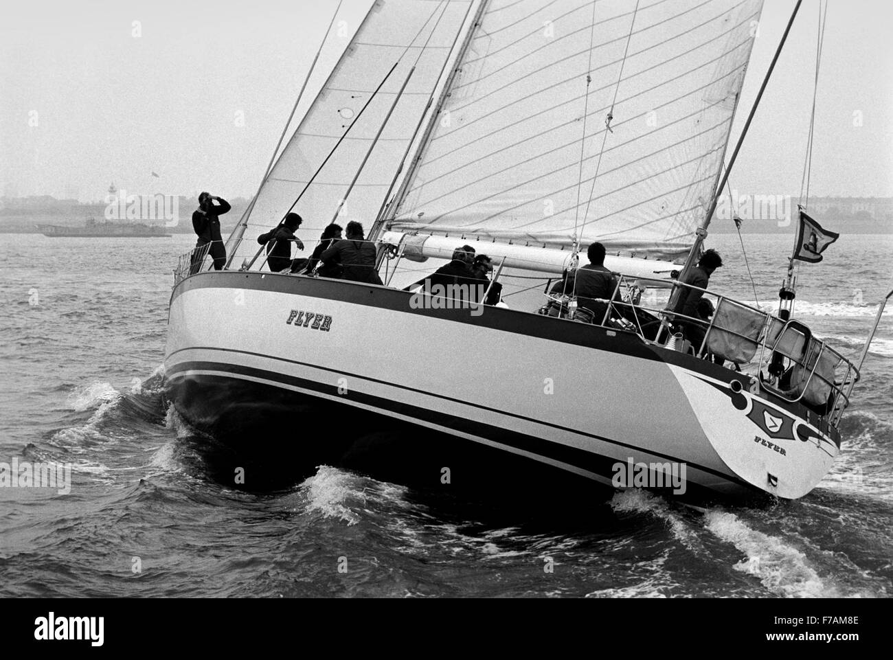 AJAXNETPHOTO. MARCH 29TH, 1982. PORTSMOUTH, ENGLAND -  FLYING DUTCHMAN NEARS RACE END - DUTCH YACHT FLYER IN SIGHT - Stock Image