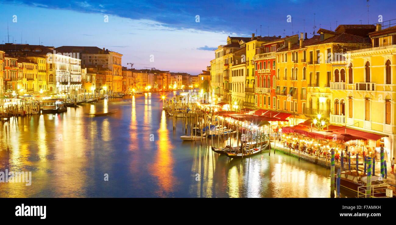 Venice view from the Rialto Bridge at night, Grand Canal, Venice, Veneto, Italy, UNESCO Stock Photo