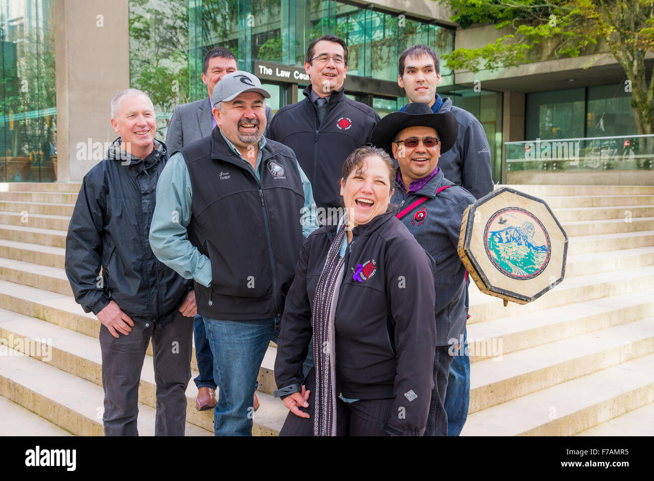 B.C. Indian Chiefs with Joe Foy of the Wilderness Committee, outside Provincial Law Courts, Vancouver, British Columbia, - Stock Image