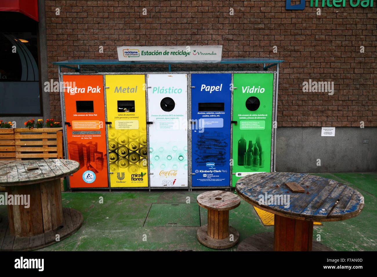 Recycling bins for domestic waste outside Vivanda supermarket, Miraflores, Lima, Peru Stock Photo