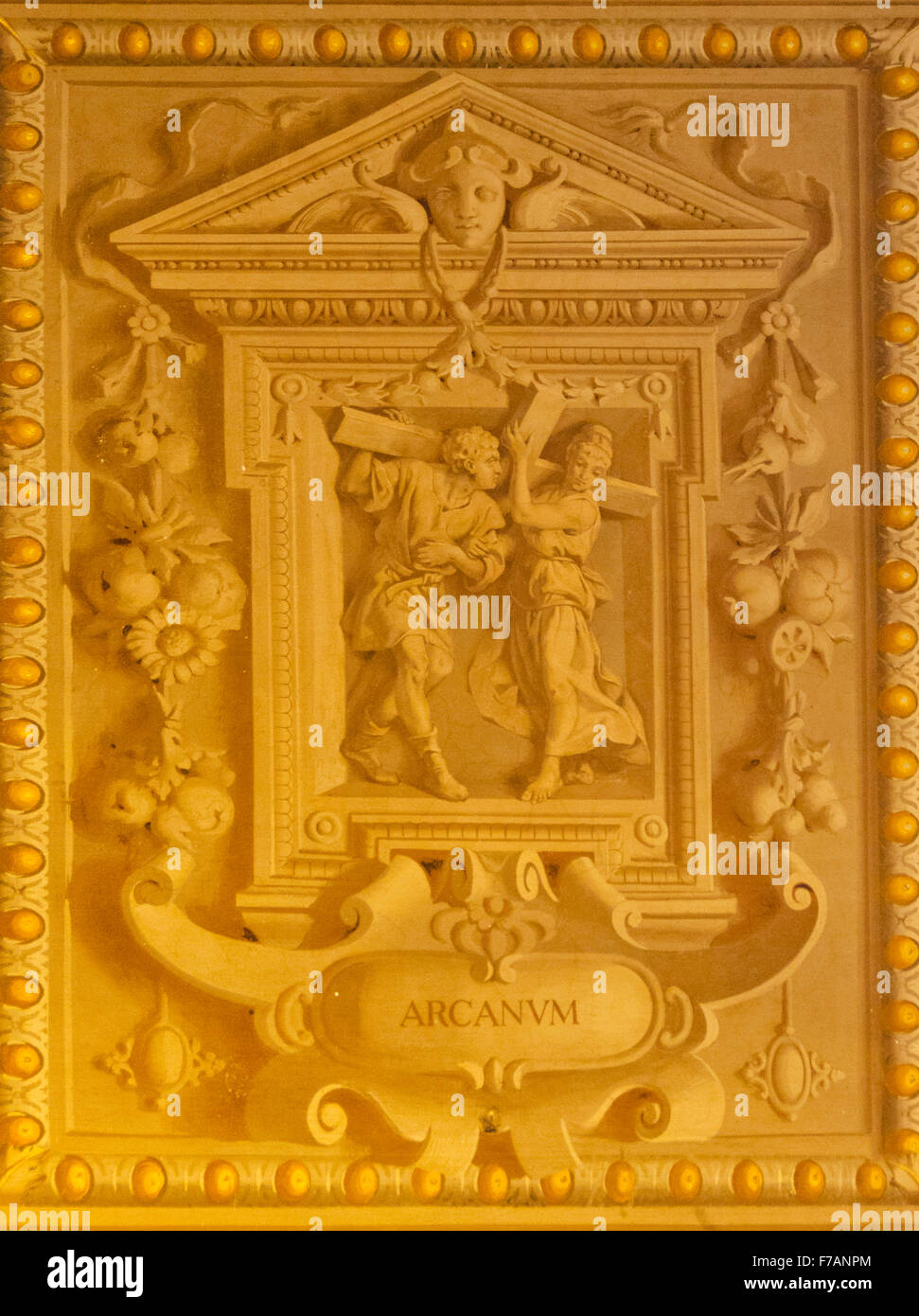 Here is a painting on the ceiling in the Vatican Museums that looks like 3 dimensional plaster, but is actually - Stock Image