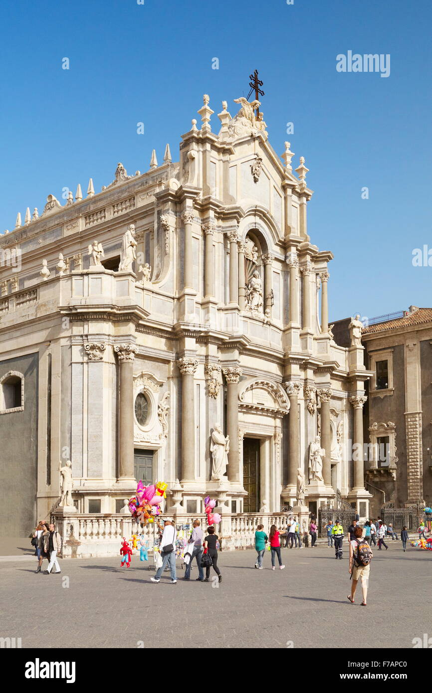 Catania Cathedral of Sant Agata, Piazza Duomo, Catania, Sicily, Italy - Stock Image