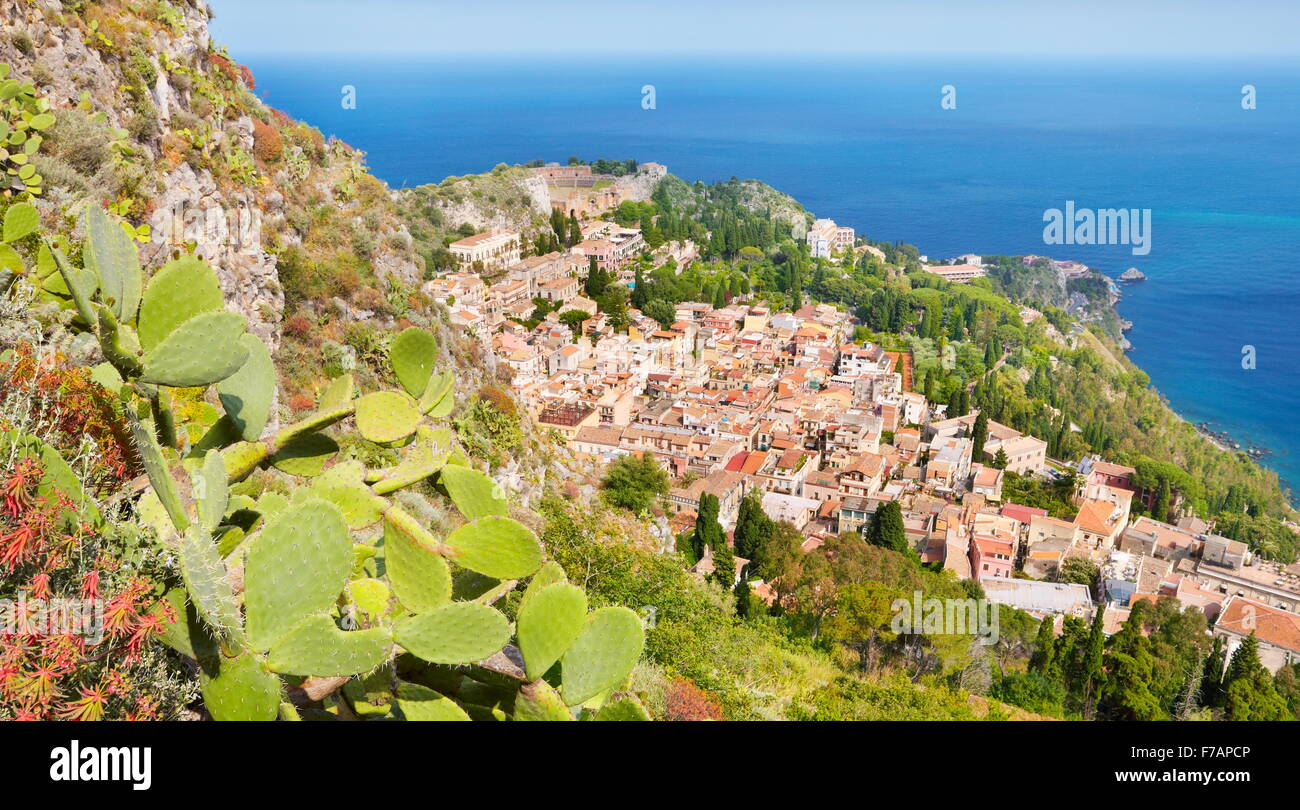 Aerial landscape view of Taormina Old Town, Sicily, Italy - Stock Image