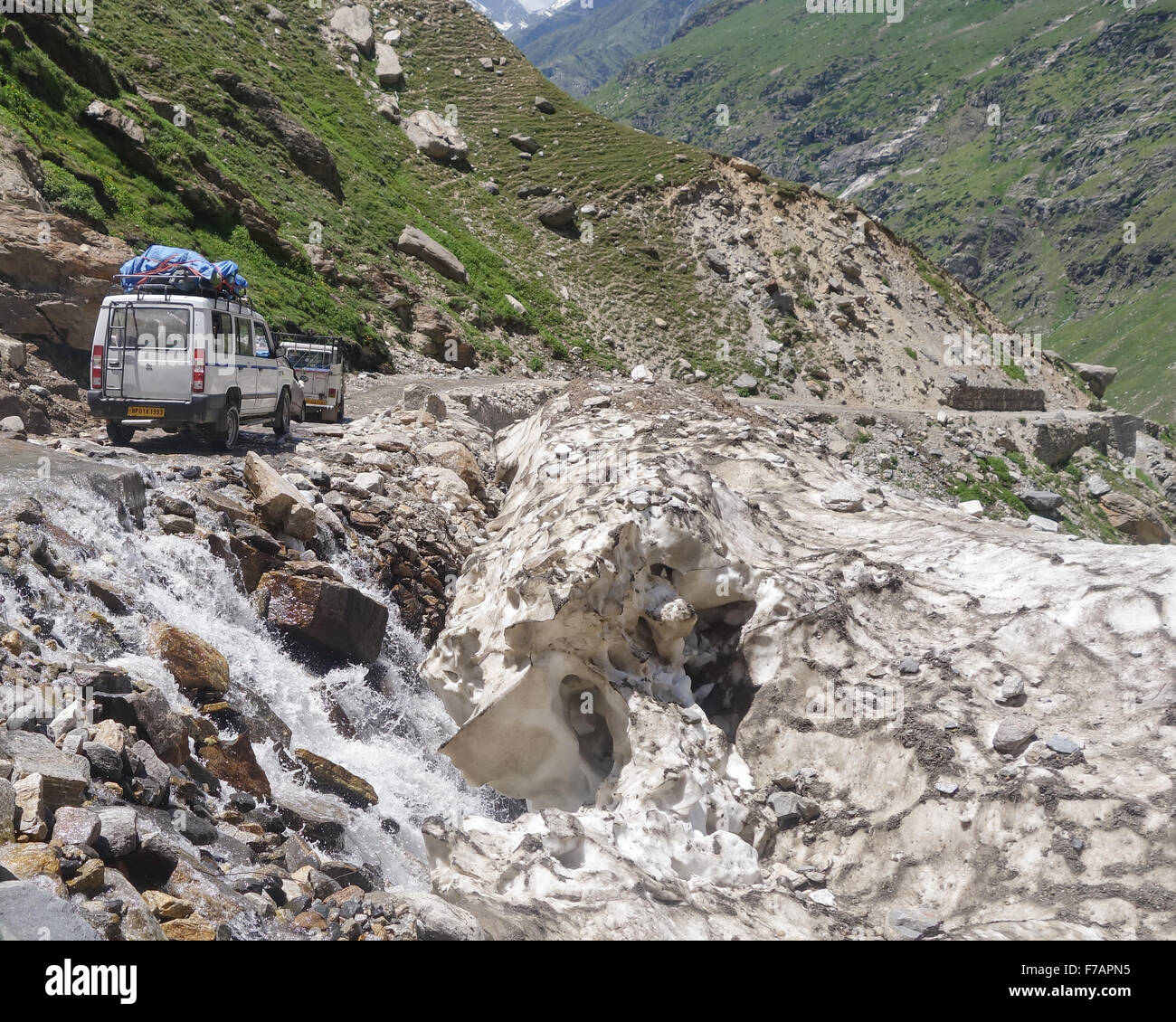 Spiti Valley, Himachal Pradesh - In summer laden Jeeps drive by thawing ice along a road which is impassable in - Stock Image