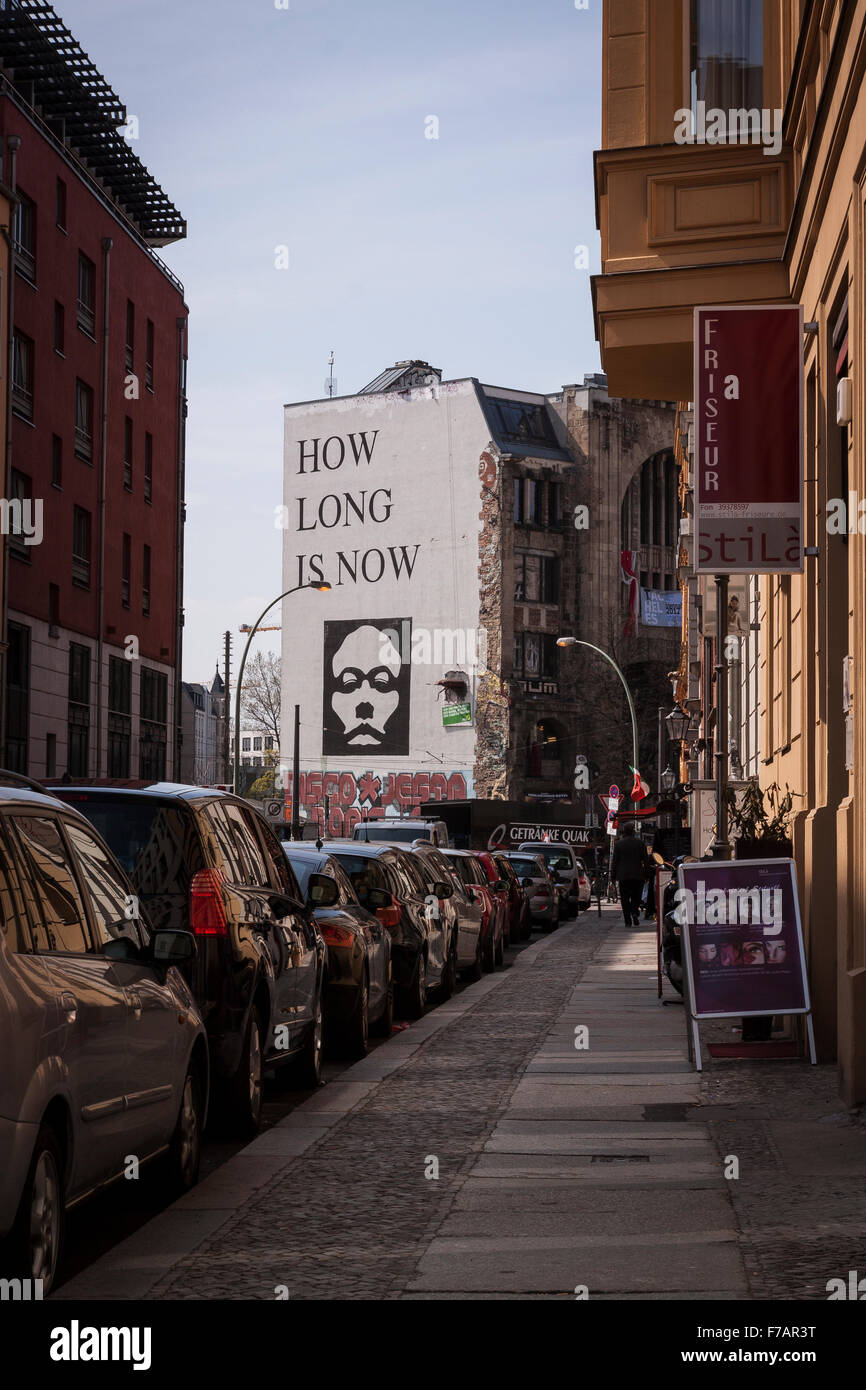 Street art in Berlin on the Tacheles squat - Stock Image