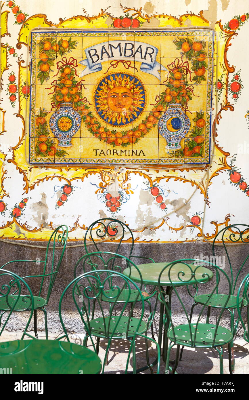 Bar art decoration, Old Town in Taormina, Sicily, Italy - Stock Image