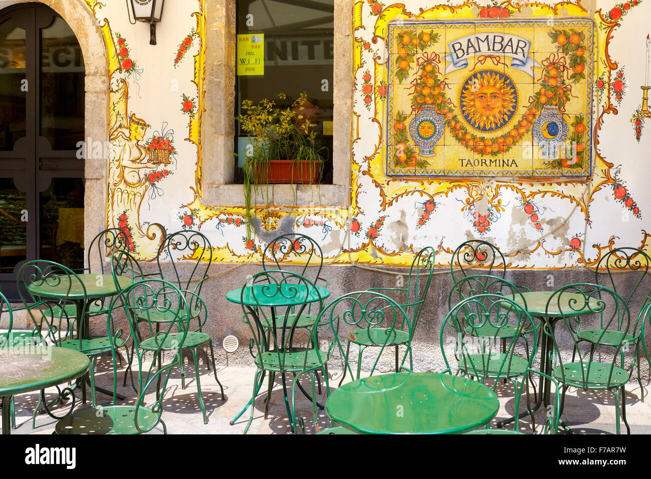 Bar decoration sign, Old Town in Taormina, Sicily, Italy - Stock Image