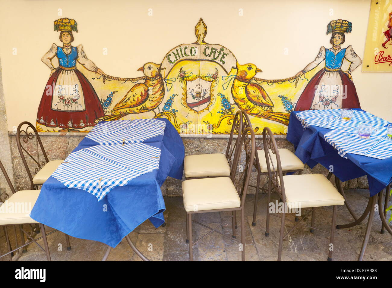 Cafe decoration, Old Town in Taormina, Sicily, Italy - Stock Image