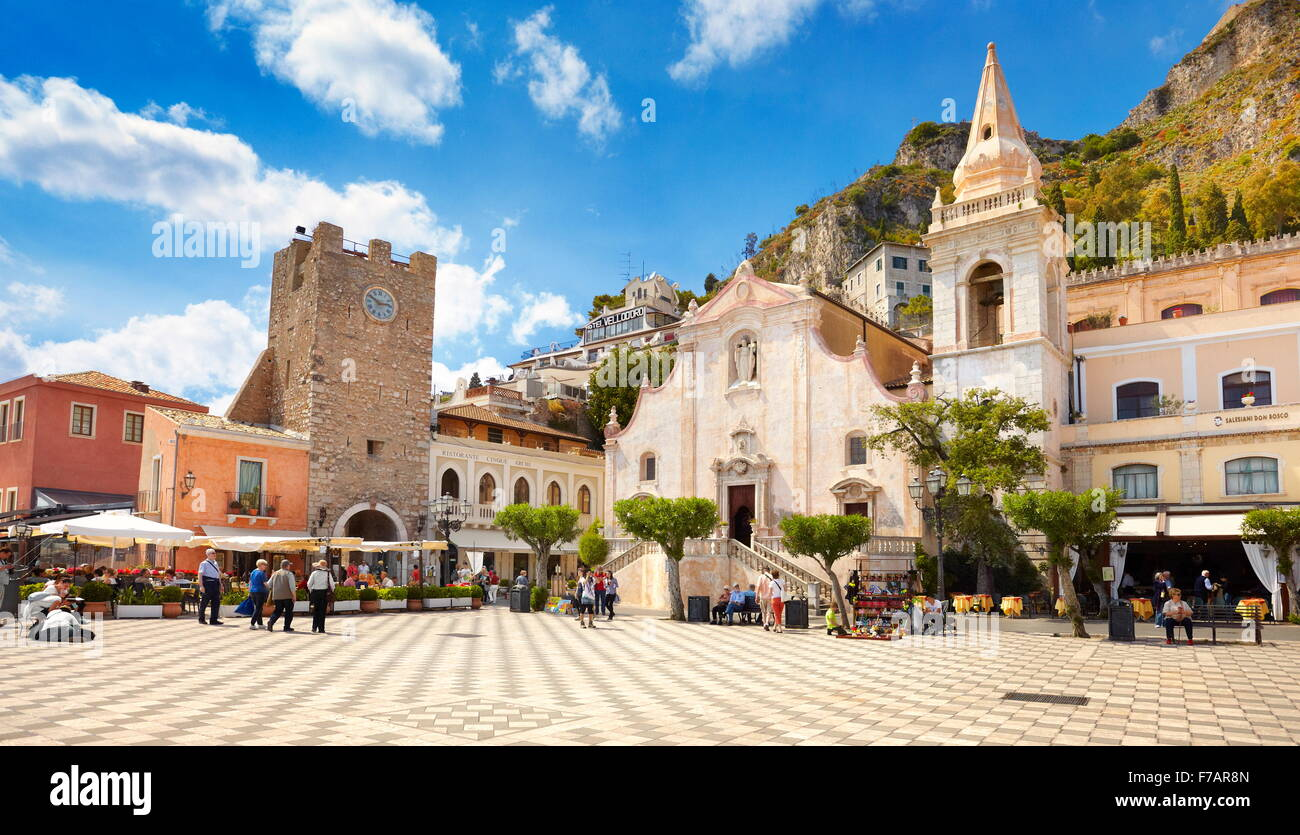 Taormina - clock Tower and Church of San Giuseppe, Taormina Old Town, Sicily, Italy - Stock Image