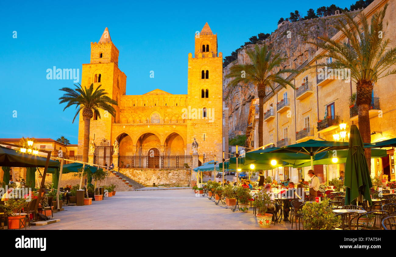 Cefalu Cathedral at evening time, Cefalu old town, Sicily, Italy - Stock Image