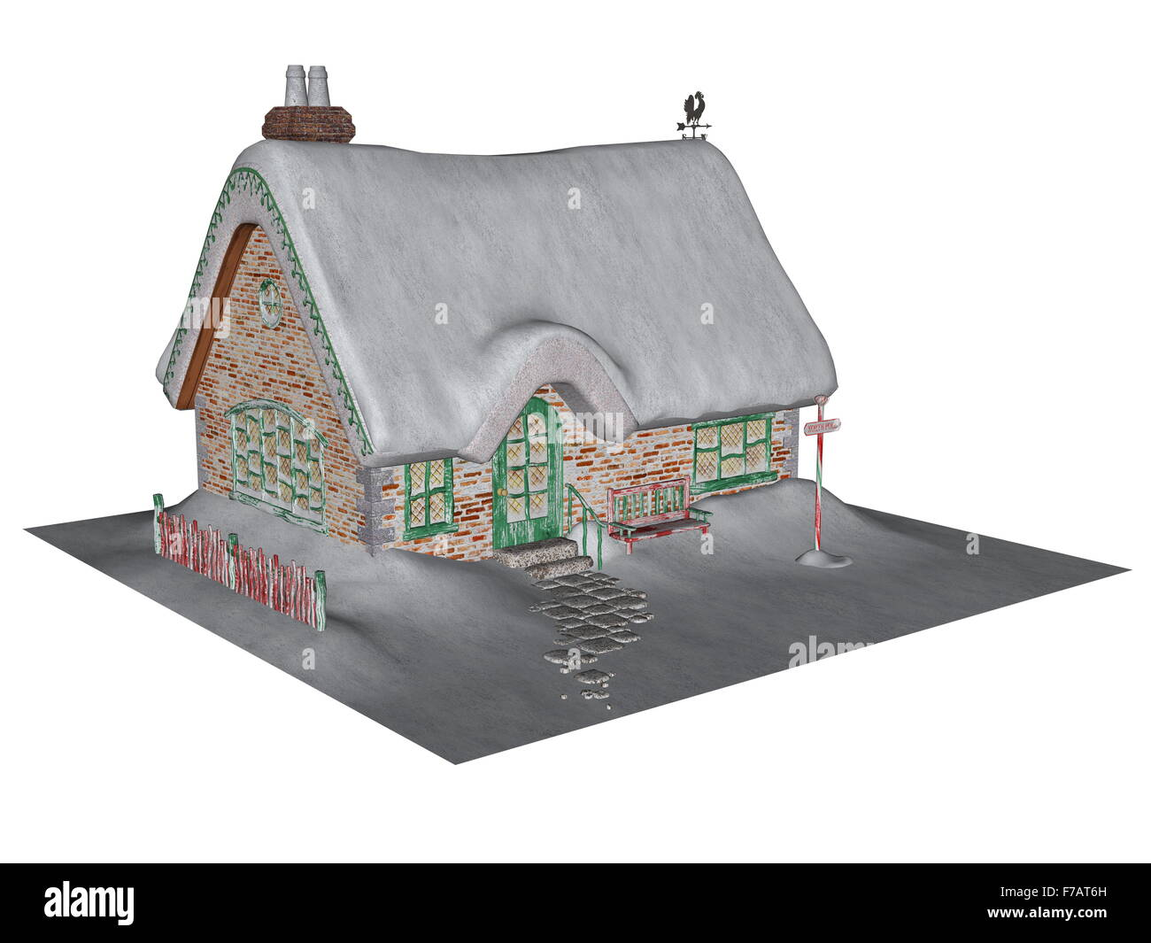 Cottage in winter isolated in white background - 3D render - Stock Image