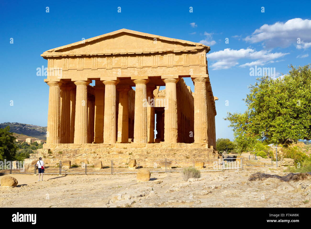 Sicily Island - Temple of Concordia, Valley of Temples (Valle dei Templi), Agrigento, Italy UNESCO - Stock Image