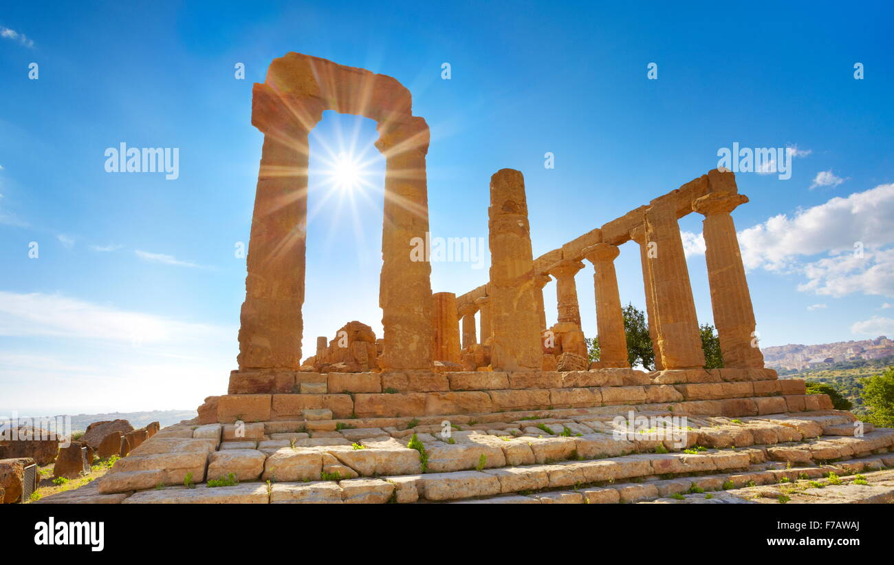 Agrigento - Temple of Hera in Valley of Temples (Valle dei Templi), Agrigento, Sicily, Italy UNESCO - Stock Image