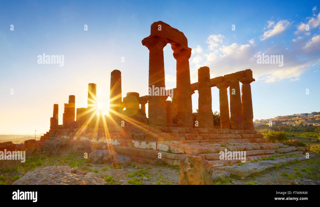 Temple of Hera in Valley of Temples (Valle dei Templi), Agrigento (Girgenti), Sicily, Italy UNESCO - Stock Image