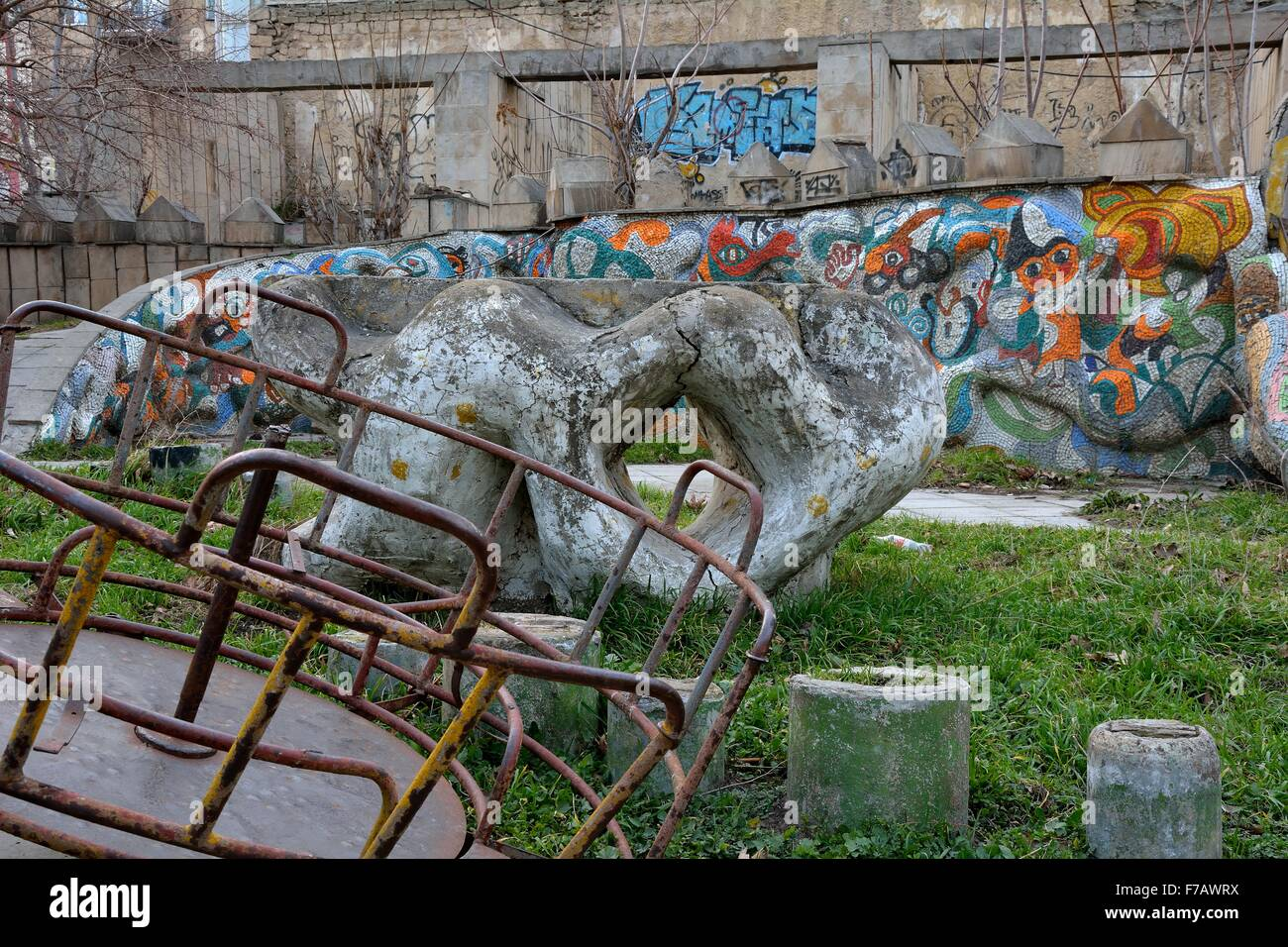 Old Abandoned Playground With Graffiti And Rusted Roundabout In Stock Photo Alamy