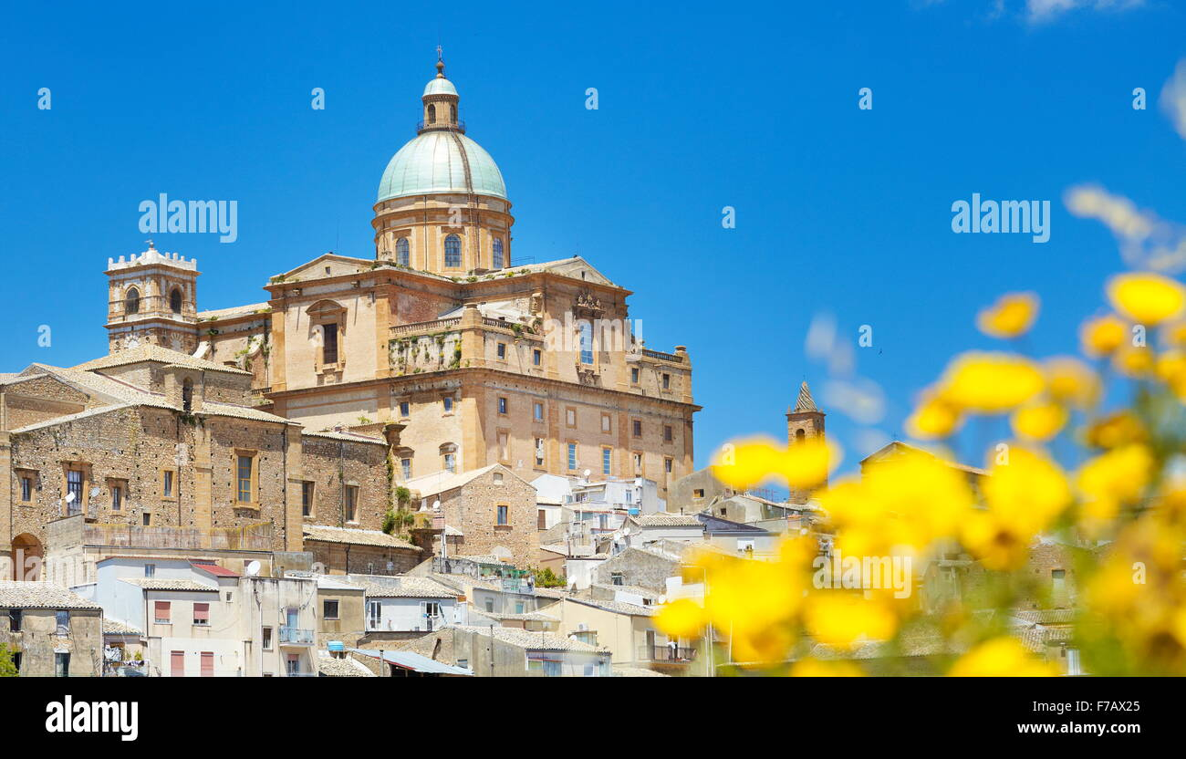 Piaza Armerina, view at Baroque Cathedral from 1768, Sicily, Italy - Stock Image