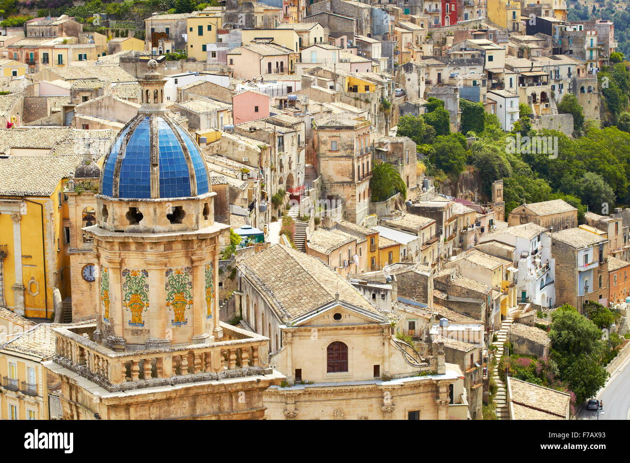 Ragusa Ibla, town view with Santa Maria Church, Sicily, Italy UNESCO - Stock Image