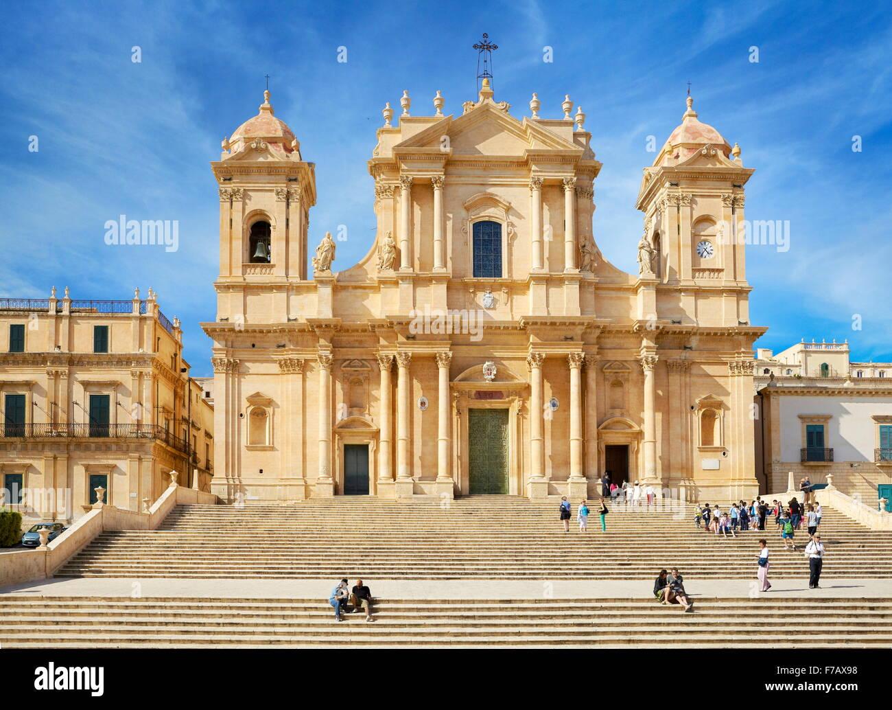 Noto - baroque Cathedral of San Nicolo, Noto, Sicily, Italy UNESCO - Stock Image
