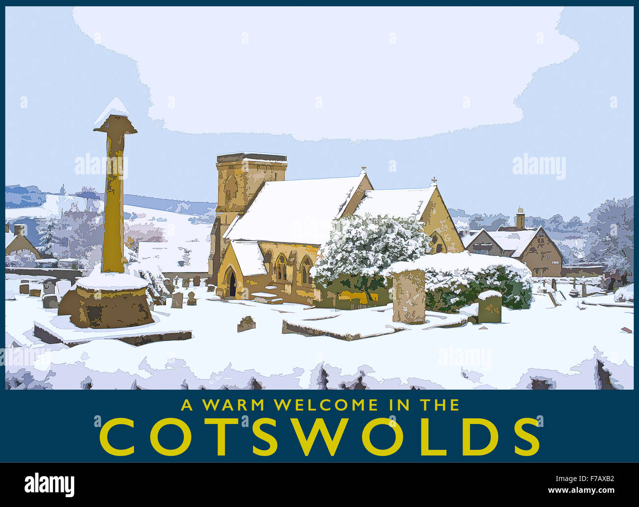 A poster style illustration from a photograph of wintertime in the Cotswold village of Snowshill, Gloucestershire, - Stock Image