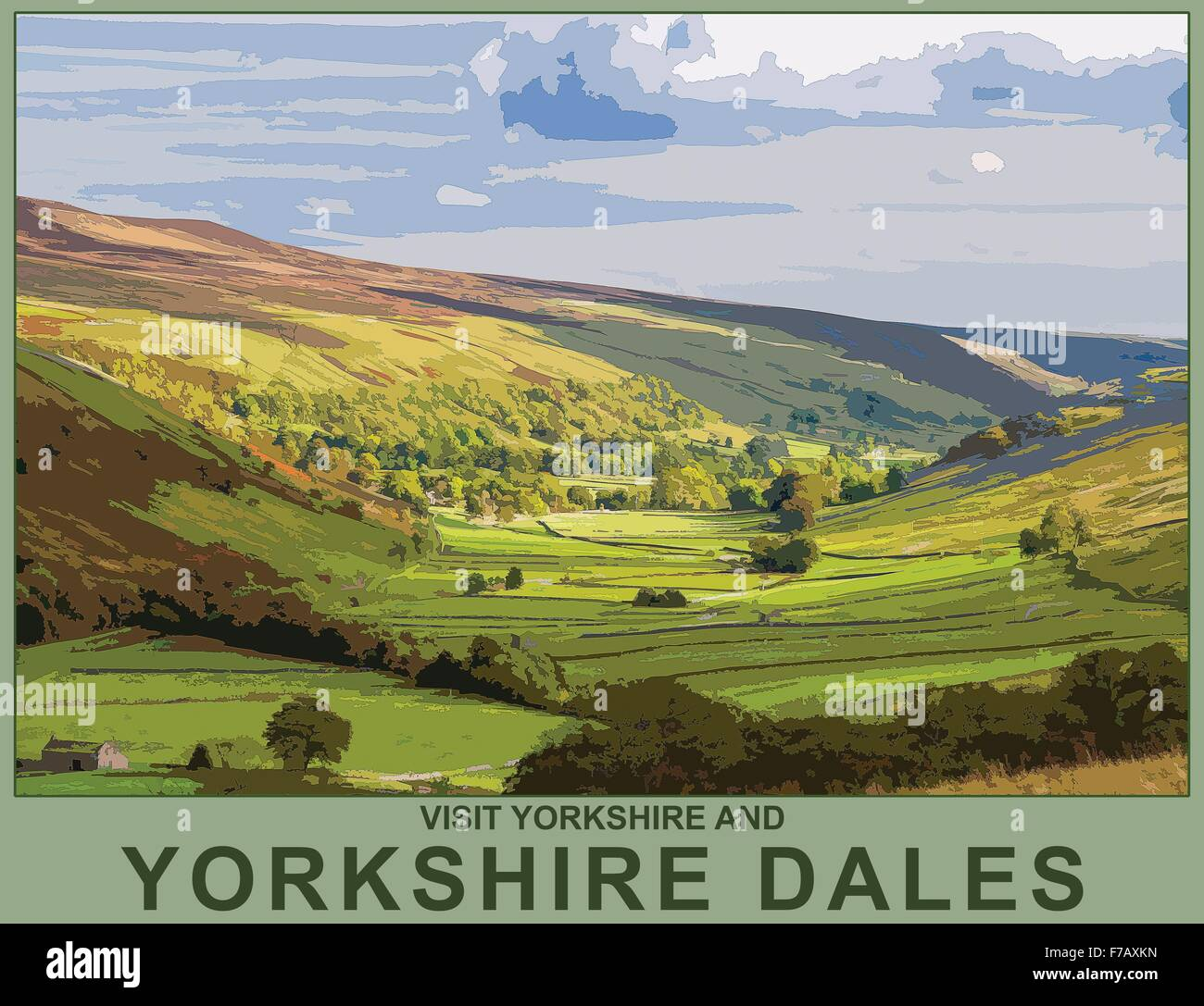 A Poster Style Illustration From A Photograph Of Littondale Stock Photo Alamy