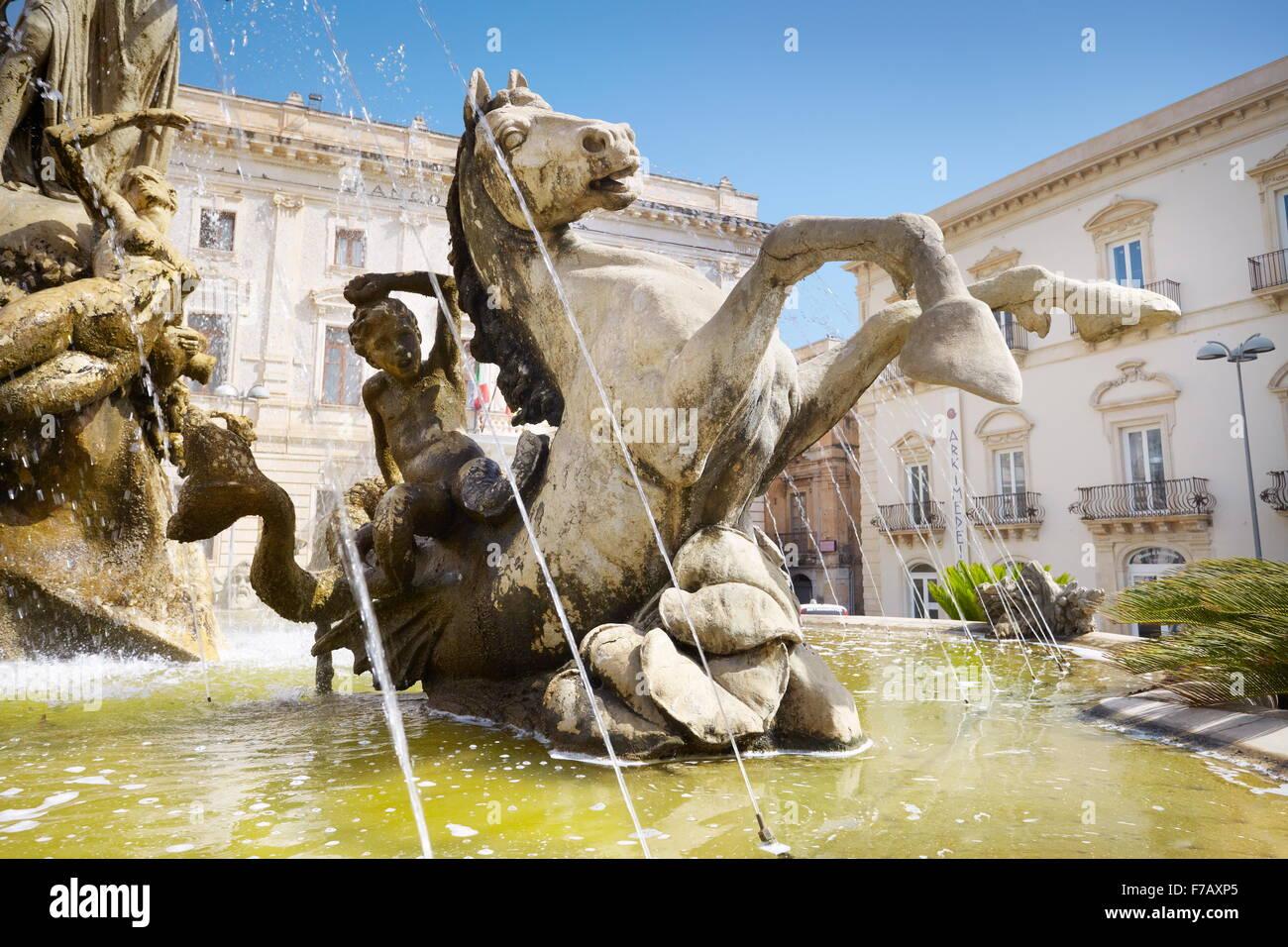 Diana fountain, Syracuse, Sicily, Italy UNESCO - Stock Image