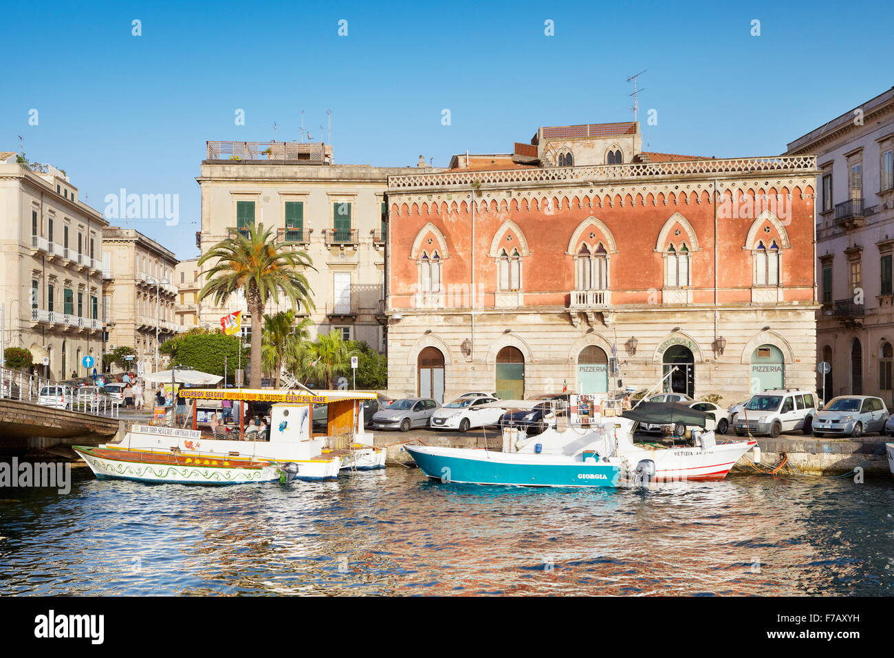 The harbor of Ortigia Island, Syracuse, Sicily, Italy UNESCO - Stock Image
