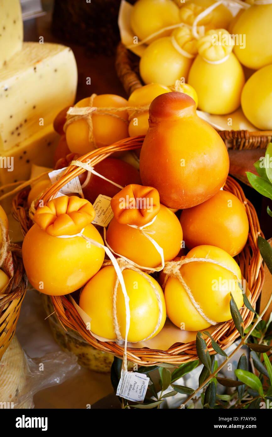 Sicilian cheese - many types of traditional italian cheeses, food market of Ortigia, Syracuse, Sicily, Italy - Stock Image