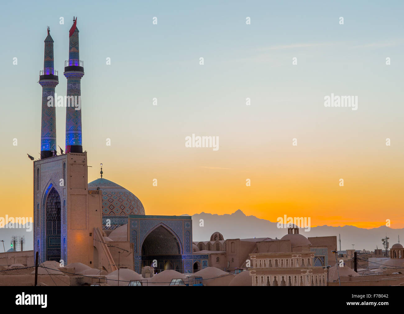 Jameh Masjid Or Friday Mosque, Yazd Province, Yazd, Iran - Stock Image