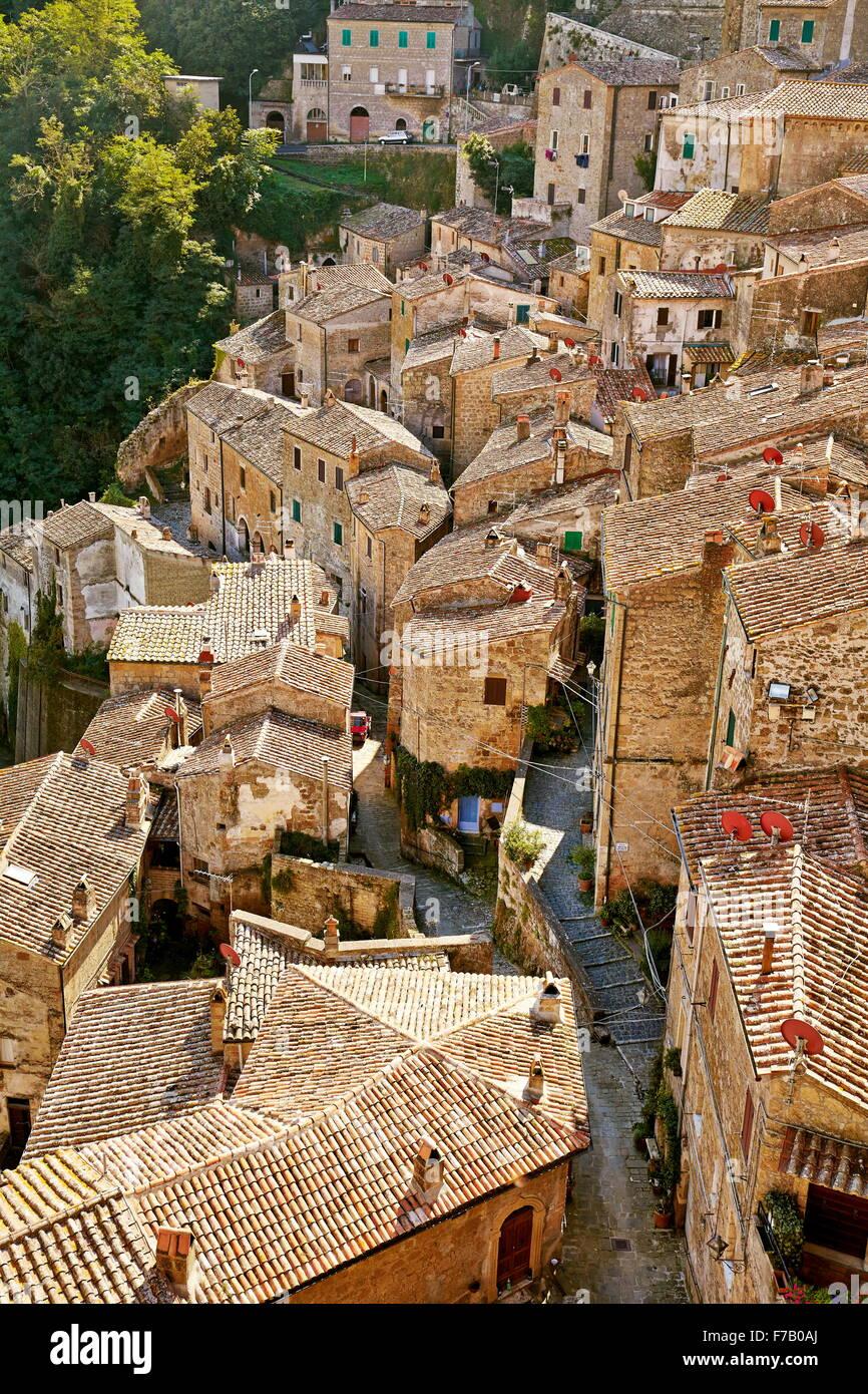 Aerial view of Sorano, Tuscany, Italy - Stock Image