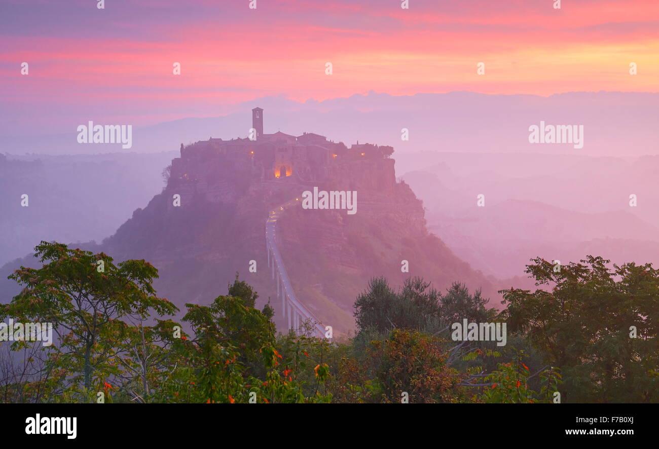 Bagnoregio at sunrise, Italy - Stock Image