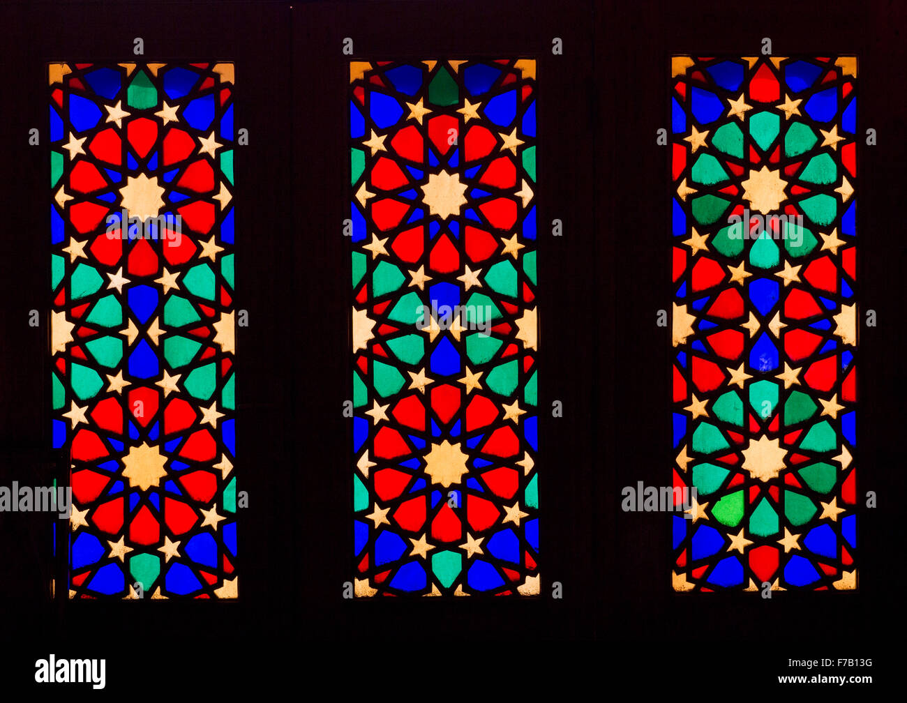 Stained Glass Windows In The Shah-e-cheragh Mausoleum, Fars Province, Shiraz, Iran - Stock Image