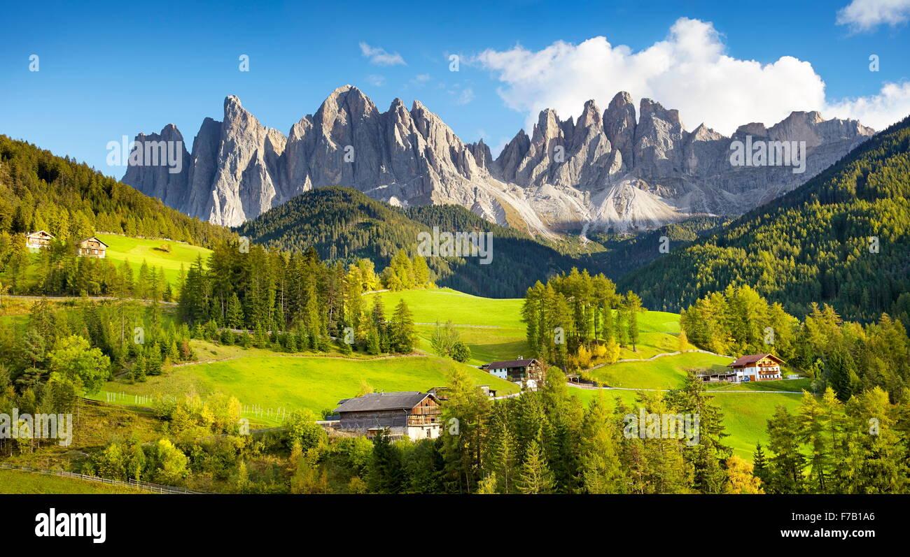 Santa Maddalena, Dolomites Mountains landscape, Tyrol, Alps, Italy - Stock Image