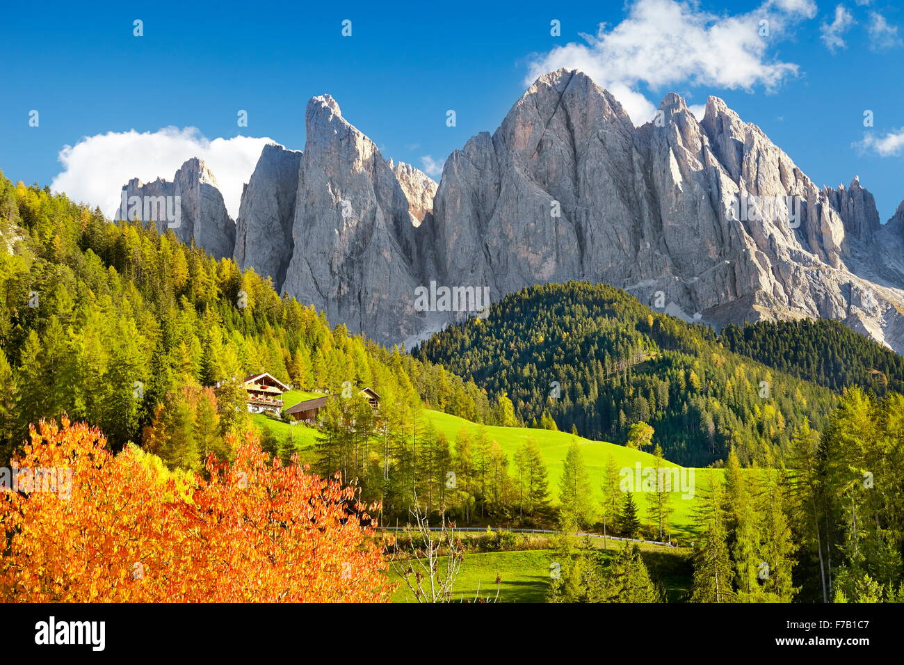 Autumn landscape in Dolomites Mountains, Val Di Funes, European Alps, Tyrol, Italy - Stock Image