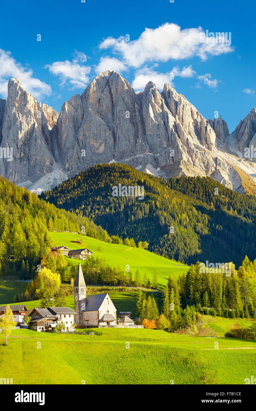Small church in Santa Maddalena village, Dolomites Mountains, Tyrol, Italy - Stock Image