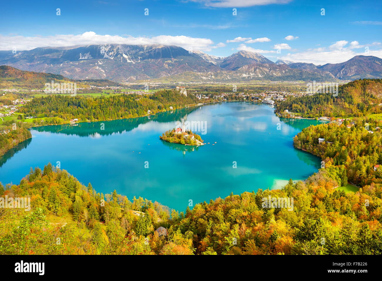 Autumn Lake Bled, Julian Alps, Slovenia - Stock Image