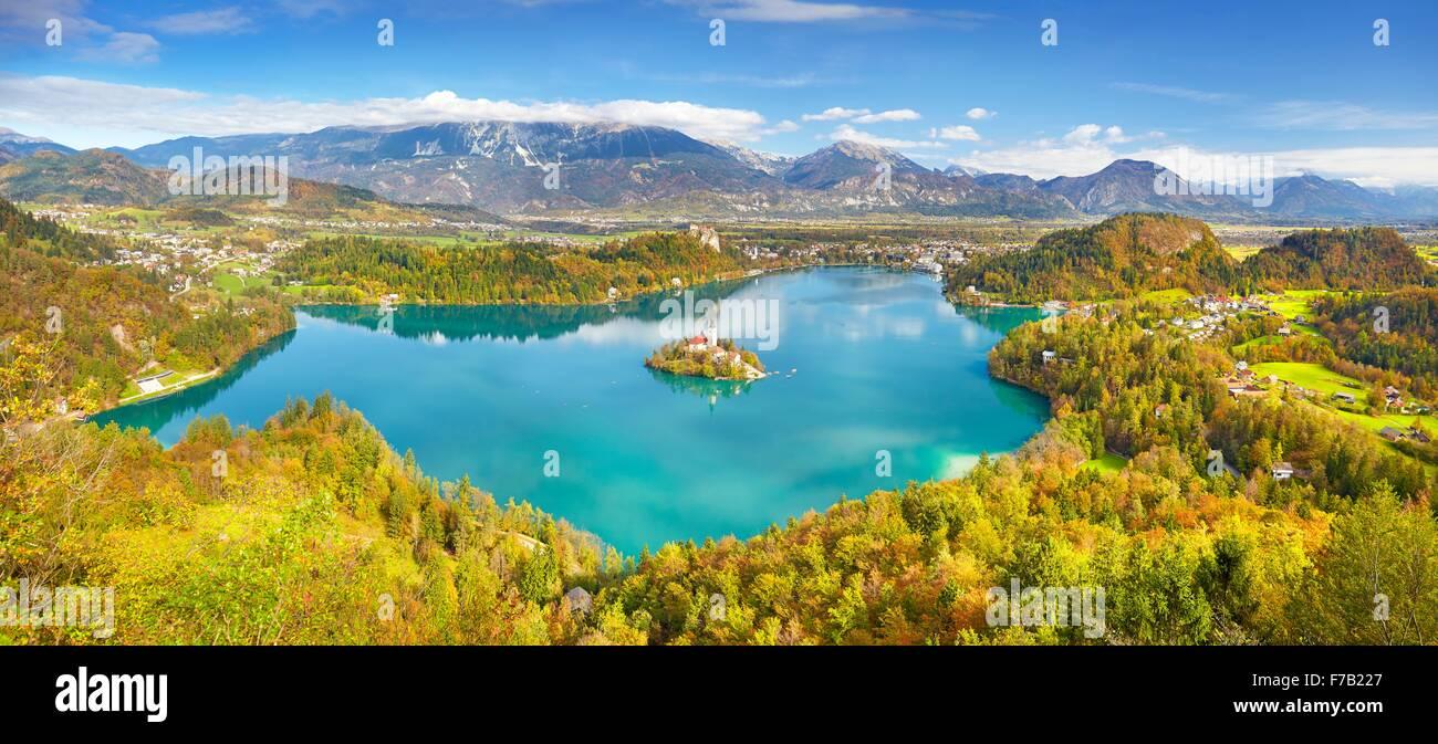 Panoramic view of Autumn Lake Bled, Julian Alps, Slovenia - Stock Image