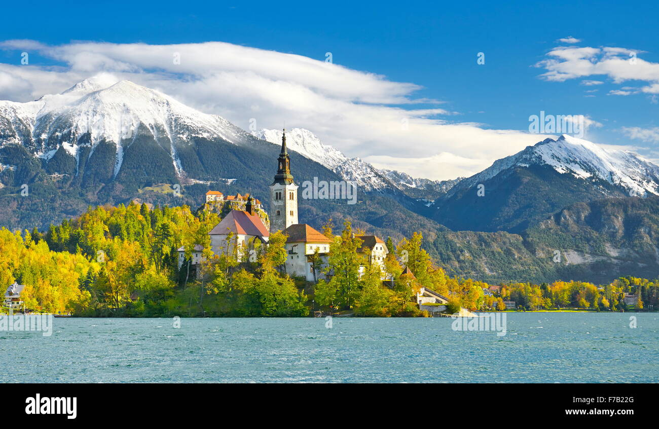 Lake Bled, Julian Alps, Slovenia - Stock Image