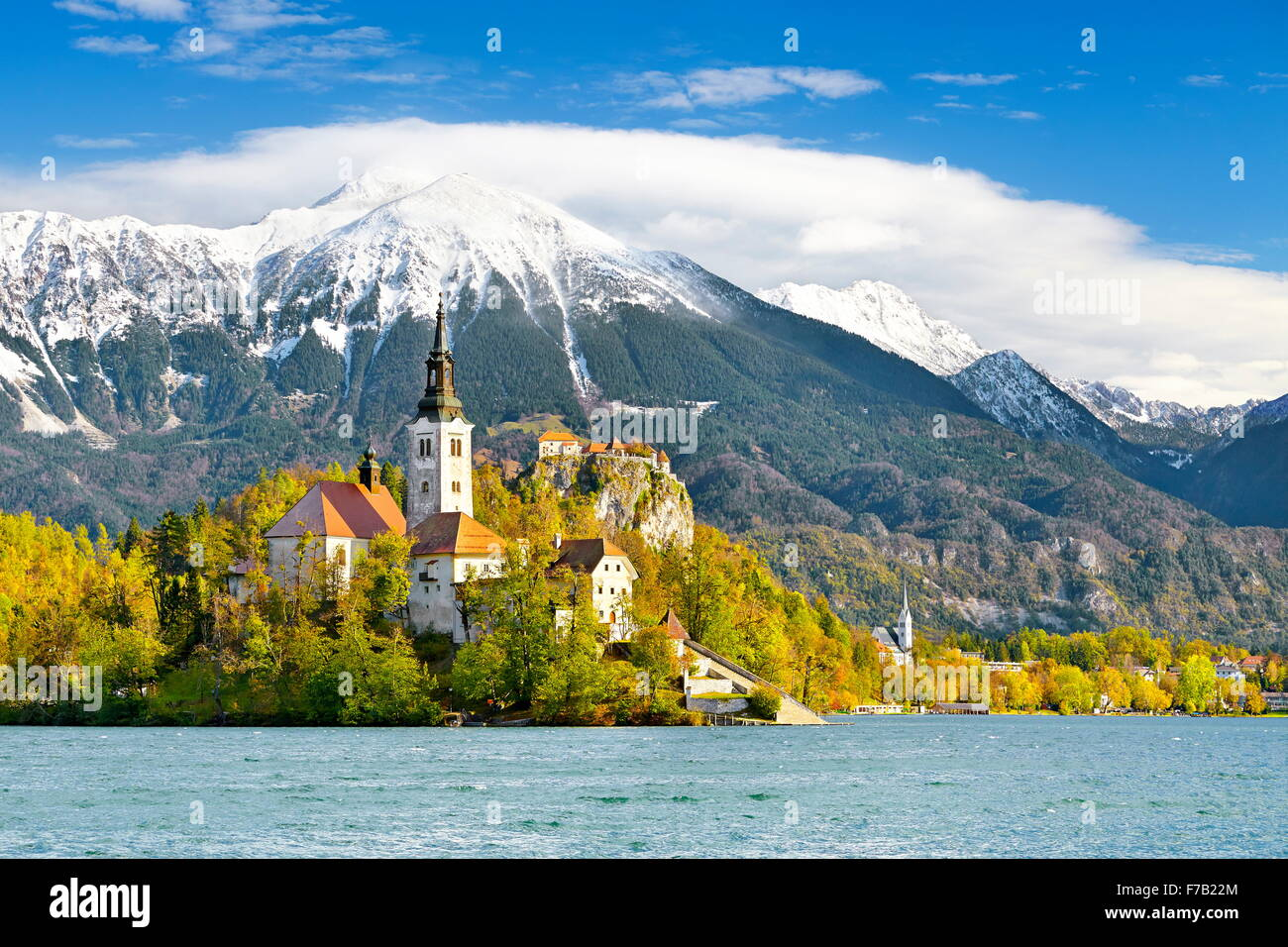 Lake Bled and Santa Maria Church, Slovenia - Stock Image