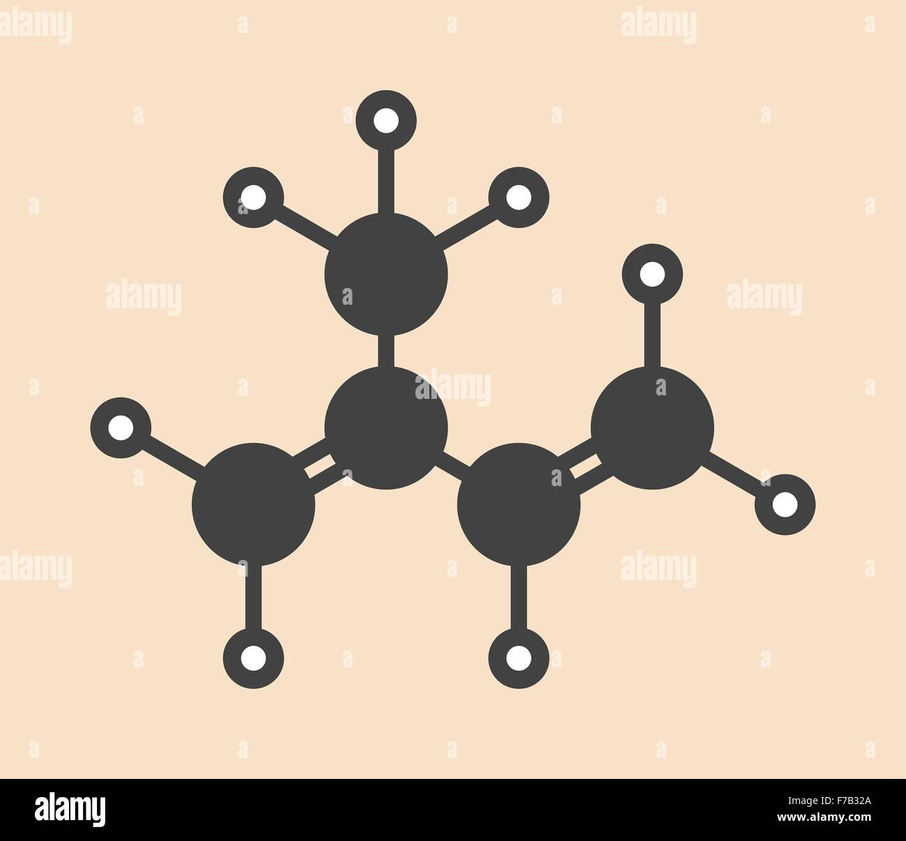 Isoprene, rubber (polyisoprene) building block (monomer)  Stylized
