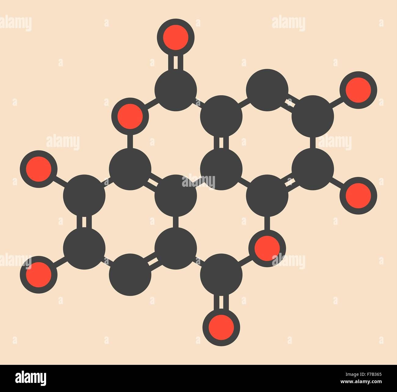 Ellagic acid dietary supplement molecule. Stylized skeletal formula (chemical structure). Atoms are shown as color - Stock Image