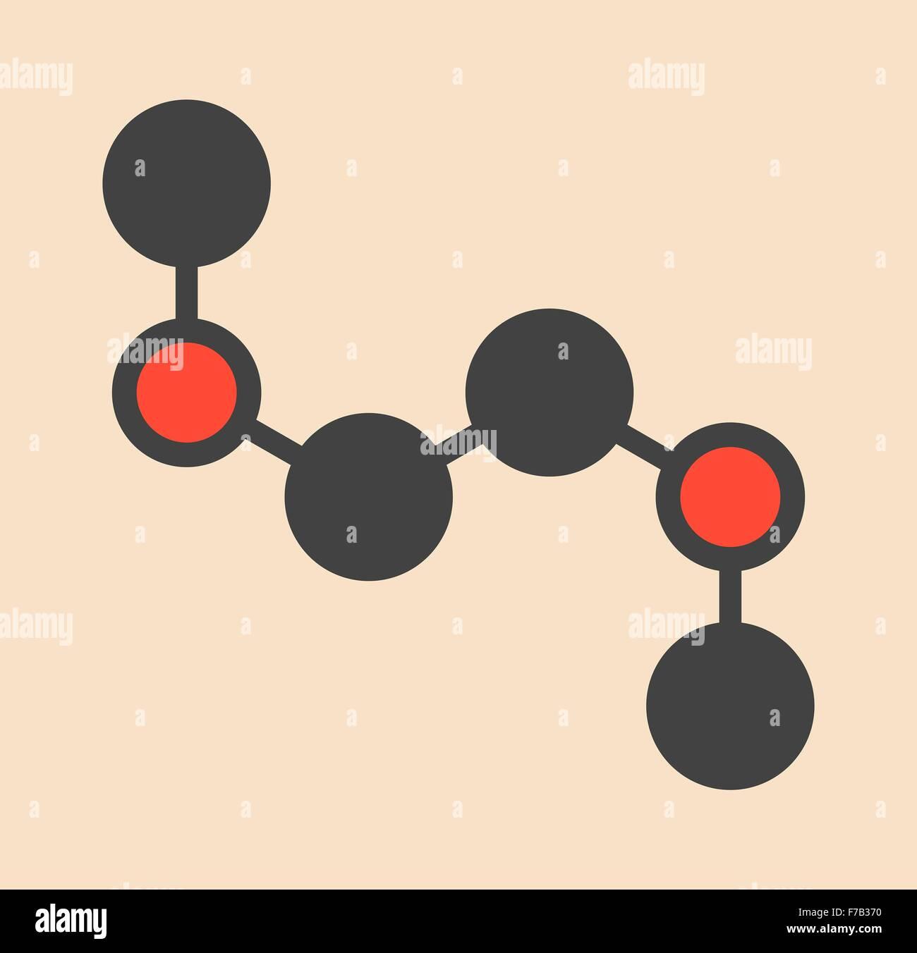 Dimethoxyethane (glyme, DME, dimethylene glycol) chemical solvent molecule. Stylized skeletal formula (chemical - Stock Image