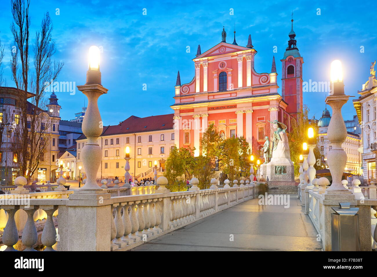 Ljubljana, evening view at Franciscan Church, Slovenia - Stock Image