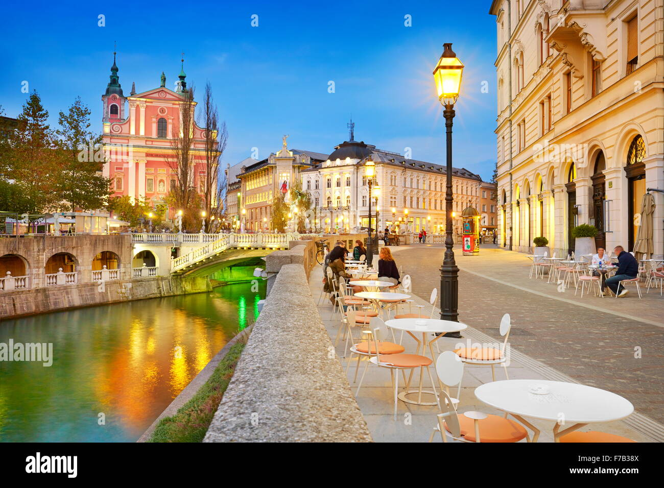 Ljubljana at evening time, Slovenia - Stock Image