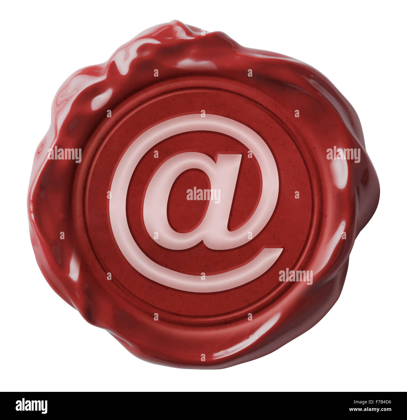 Red wax email seal with commercial at symbol isolated - Stock Image