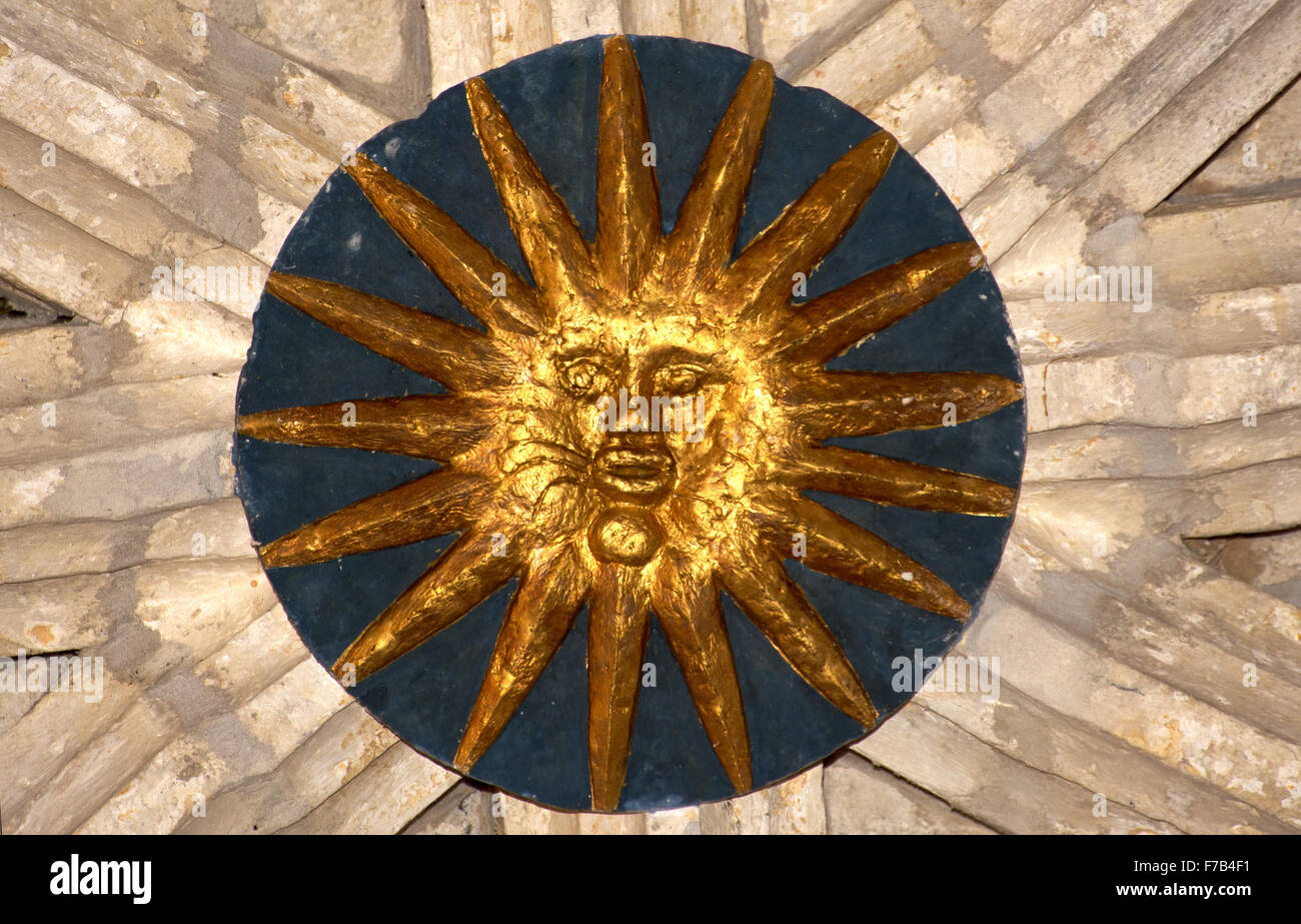 Sun roundel, ceiling Audignon church Landes, France - Stock Image
