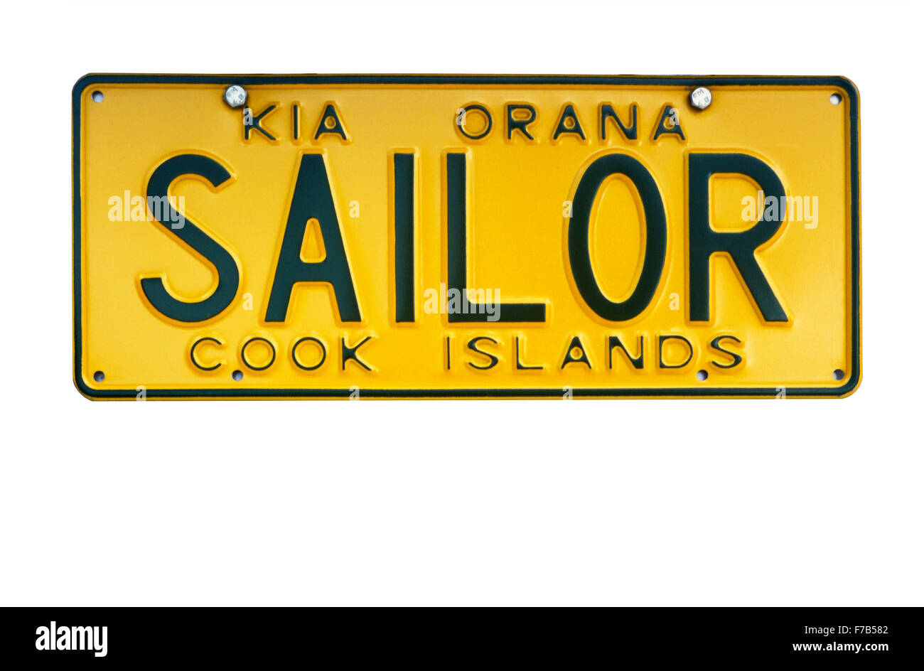 Cook Islands Sailor license plate with 'Kia Orana' a greeting in Maori language - Stock Image