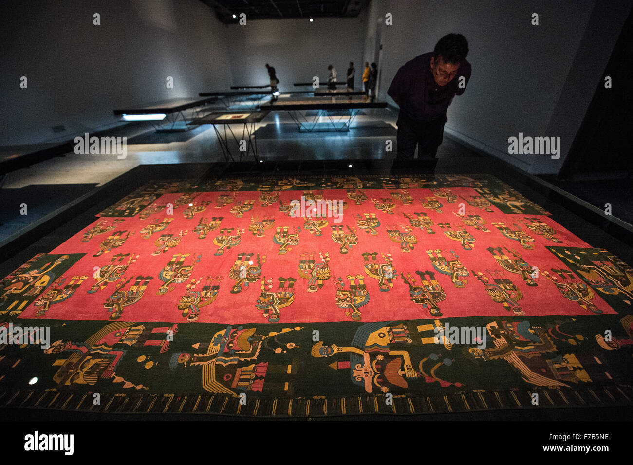 Santiago, Nov. 26. 6th June, 2016. A visitor watches the exhibition 'Funeral wrappings of Paracas: Offerings - Stock Image