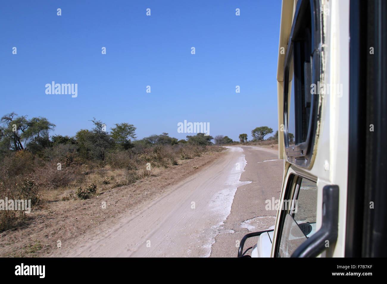 Sand Road between Maun and Okavango, Botswana - Stock Image