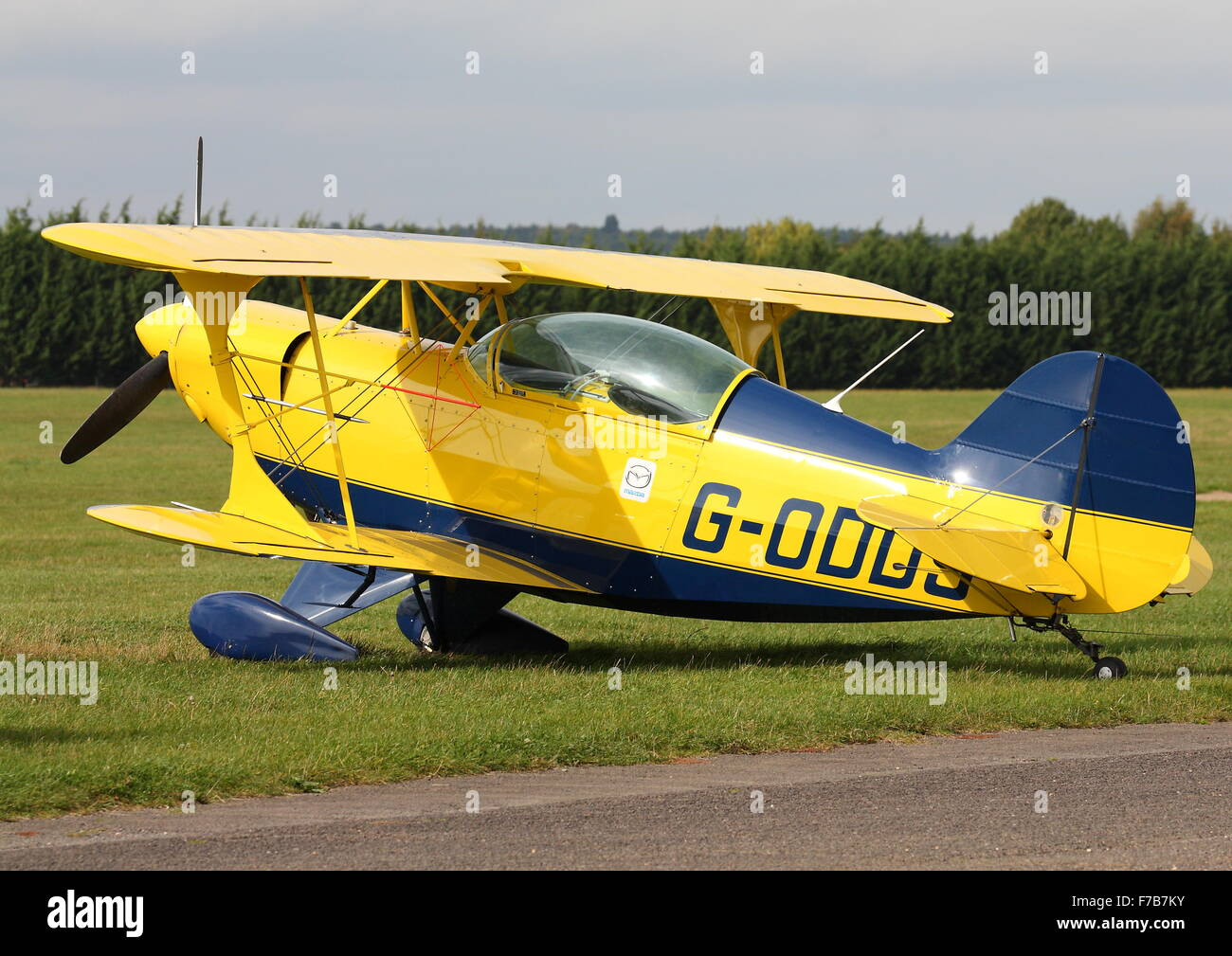 Pitts Special G-ODDS parked at White Waltham Airfield - Stock Image